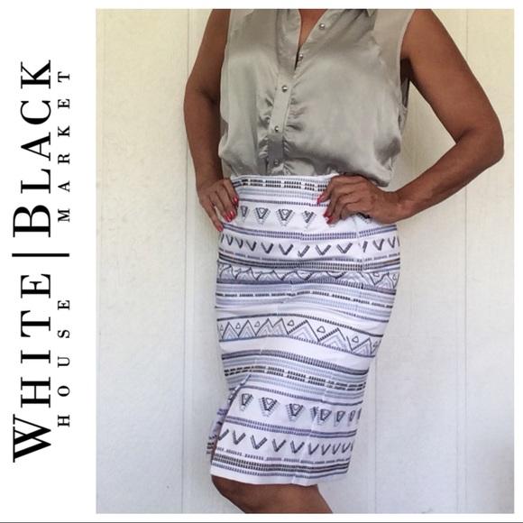 White House Black Market Dresses & Skirts - WHBM EMBROIDERED COTTON PENCIL SKIRT SIZE 6P